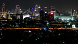 Timelapse of traffic with skyline,Bangkok,Thailand Footage
