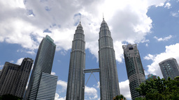 Timelapse of clouds over Petronas twin towers,Kuala Lumpur,Malaysia Footage
