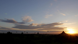 Timelapse of hot air balloons over Temples at sunrise,Bagan,Burma Footage