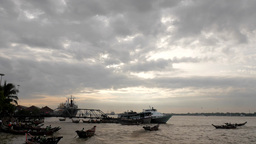 Timelapse of clouds and passenger ferries,Yangon,Burma Footage