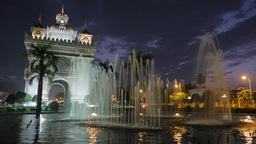 Timelapse of fountains at Patuxai in evening,Vientiane,Laos Footage