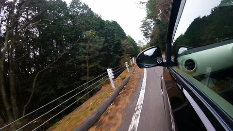 Side window view. The car running on the left corner at high speed Footage
