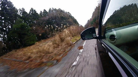 Side window view. The car running a rough road surface at high speed Footage