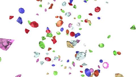 Gems diamonds gemstones ruby stones falling slow motion wedding background 4K Footage