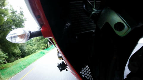 Front fork view. Bike is traveling the suburbs Footage