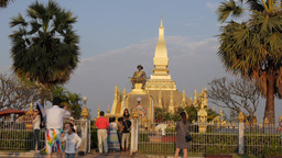That Luang temple with tourists,Vientiane,Laos Footage