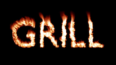 Grill Hot text brand branding iron flaming heat flames overlay 4K Footage