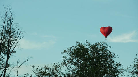 Aerostat heart in the blue sky over trees Footage