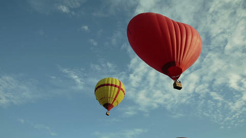 Hot air balloons flying in the sky Live Action