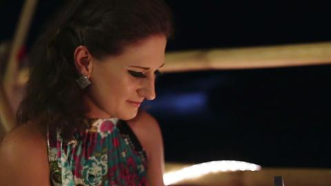Girl looks at wedding ring, wedding proposal Footage