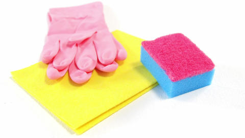 Cleaning sponge, cloth and gloves Footage