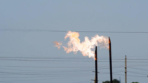 System of a torch on an oil field. Burning through a torch head Live Action