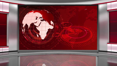 HD News-01 TV Virtual Studio Green Screen Background Red Colour with Globe Animation