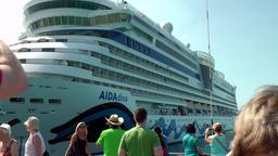 Thailand Ko Samui Island 001 leaving cruise ship AIDAluna with a tender boat Footage
