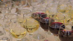 Red And White Wine In Glasses Pan shot Footage