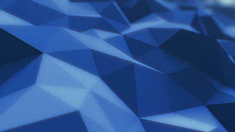 Blue Low Poly Surface Slow Moving in Looped 3d Animation. Seamless Background Co Animación