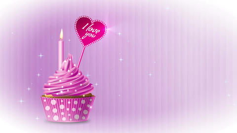 Cupcake I love you pink CG動画素材