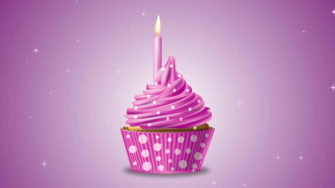 Cupcake candle stars Animation