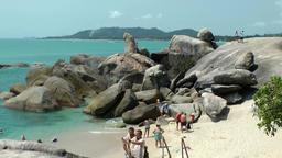 Thailand Ko Samui Island 018 tourists at the grandfather and grandmother rocks Footage