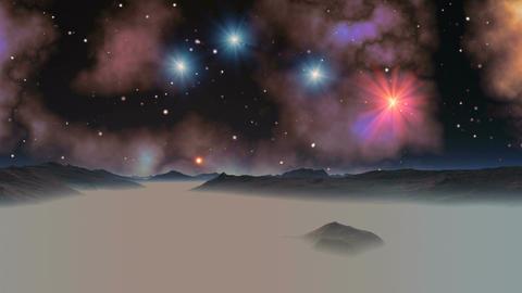 Falling Stars (UFO) Against The Background Of The Nebula Animation