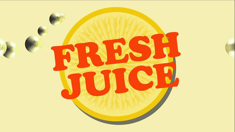 Fresh juice animated banner with orange slice and lemonade bubbles Animation