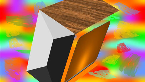 Cube with wooden texture face rotating on multicolored psychedelic background Animation