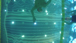 Swimmers swims in pool 4k video. Underwater bottom view from water Footage