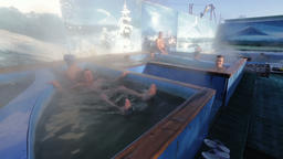 People enjoying bathing relaxed in pool with natural thermal mineral water Footage