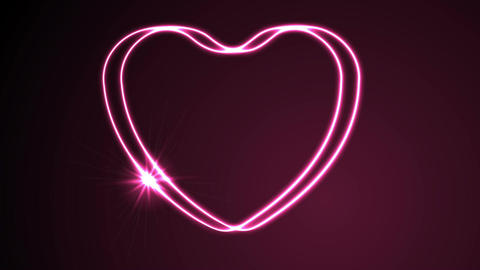 Glowing neon retro hearts video animation Animation
