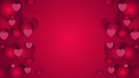 Red hearts St Valentines Day video clip Animation