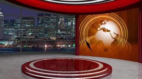 News TV Studio Set 255- Virtual Background Loop ライブ動画