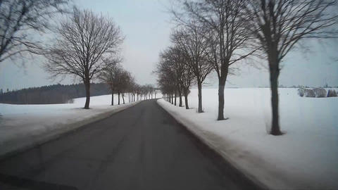 Driving on rural road POV Stock Video Footage