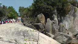 Thailand Ko Samui Island 027 rock face at the shore Footage