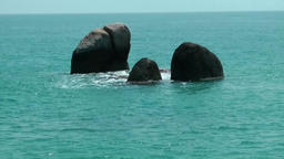 Thailand Ko Samui Island 022 group of three rocks in turquoise water Footage