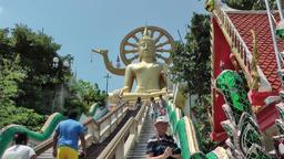 Thailand Ko Samui Island 036 big buddha statue at end of stairways Footage