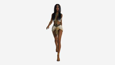 Beautiful Girl in Oriental Costume Walking Animation