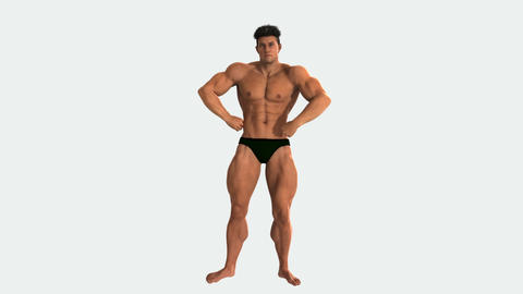 male weightlifters bodybuilder demonstrates his muscles, animation, Alpha channe CG動画素材