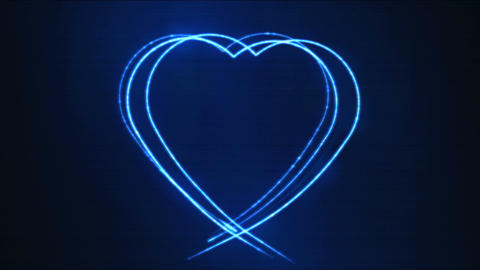 Drawing Heart Shape Motion Background Animation - Loop Blue
