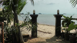 Thailand Ko Samui Island 066 fence and tropical plants at beach entrance Footage
