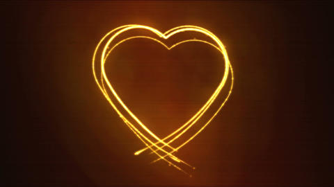 Drawing Heart Shape Motion Background Animation - Loop Fiery Orange CG動画素材