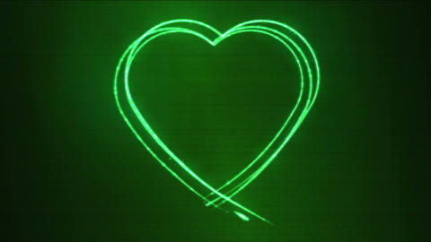 Drawing Heart Shape Motion Background Animation - Loop Green Animation