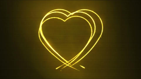 Drawing Heart Shape Motion Background Animation - Loop Yellow Animation