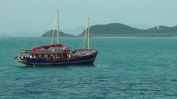 Thailand Ko Samui Island 087 sailing ship with two masts, island scenery Footage