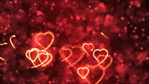 Drawing Heart Shapes Motion Background Animation - Loop Red Animation