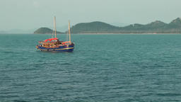 Thailand Ko Samui Island 089 an old sailing ship drifts in turquoise water Footage