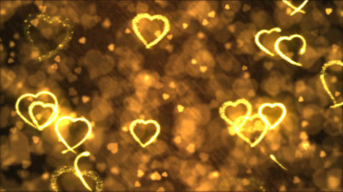 Drawing Heart Shapes Motion Background Animation - Loop Golden Animation