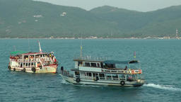 Thailand Ko Samui Island 093 meeting of two excursion boats Footage