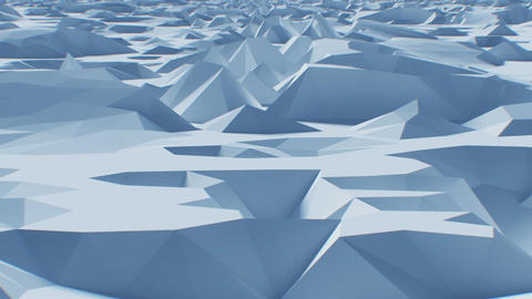 Flying over Abstract Low-Poly Surface. Looped 3d Animation. Seamless Background Animation