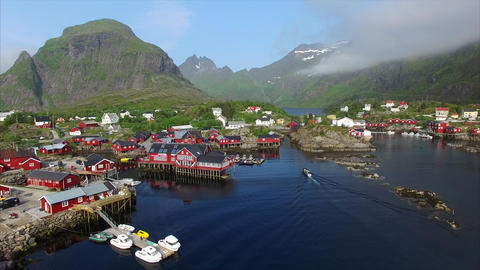Fishing port on Lofoten islands in Norway Footage