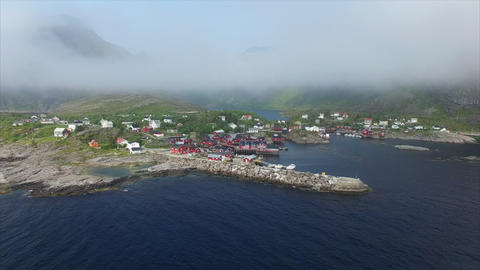 Flying into the clouds on Lofoten islands Footage
